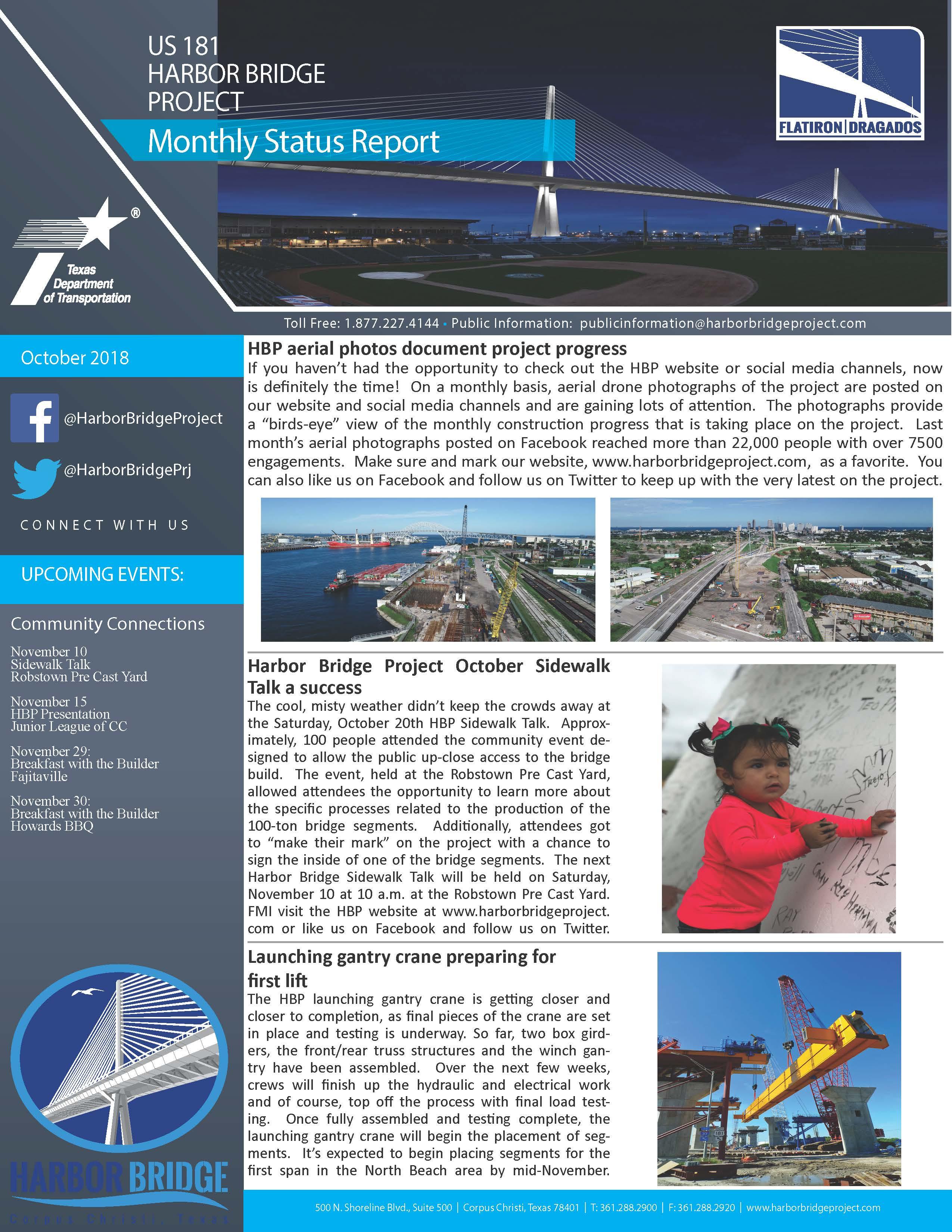 October 2018 Monthly Status Report