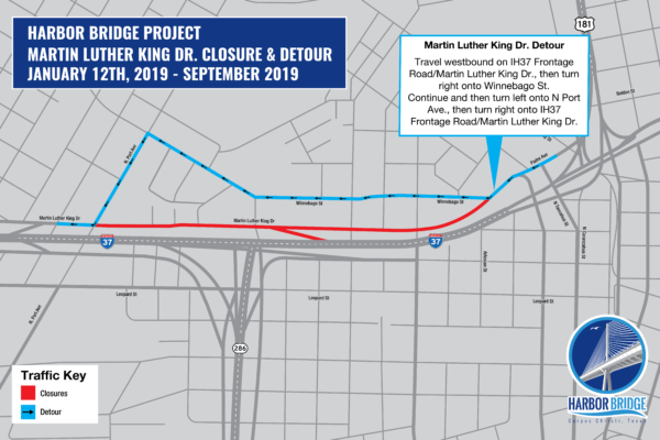 Martin Luther King Dr. Closure & Detour Map | January 2019