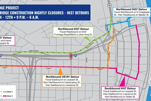 Staples St. Bridge Construction & Detour Map | January 2019